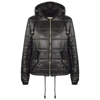 Girls Jacket Kids Bella High Shine Black Hooded Padded Quilted Puffer Jackets