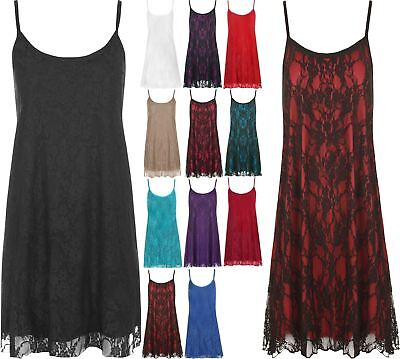 Womens Sleeveless Strappy Floral Lace Lined Camisole Ladies Fancy Swing Vest Top