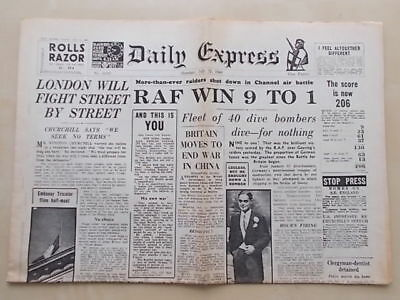 DAILY EXPRESS WWII NEWSPAPER JULY 15th 1940 RAF BATTLE OF BRITAIN DOUGLAS BADER