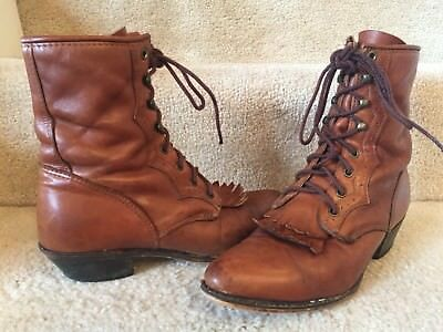 VINTAGE BROWN LEATHER  VICTORIAN WESTERN STEAMPUNK LACED GRANNY Size 8.5-9