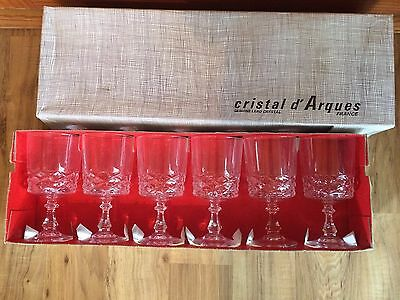 Set Of 6 Vintage Cristal d' Arques Genuine Lead Crystal Goblets - NOS