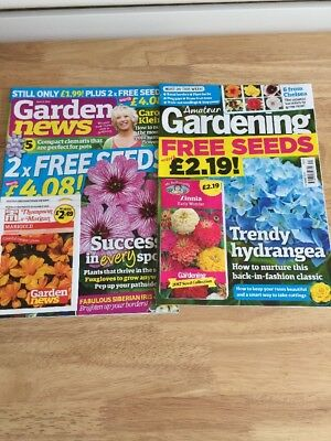 Garden News June 2017 & Amateur Gardening June 2017 Still With Seed Packs X 3