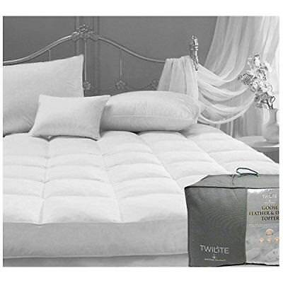 Gaveno Cavalia New Warm Duck Goose Feather & Down Mattress Cover Topper White