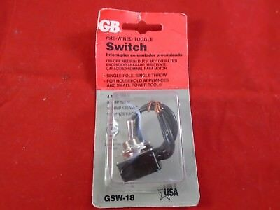 GB Pre-Wired Single Pole Toggle Switch GSW-18 NOS