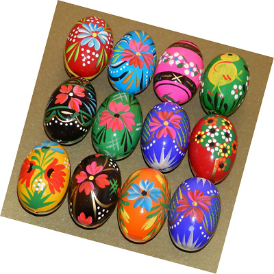 12 Polish Wooden Eggs - Pysanky Wooden Easter Hand Painted Egg