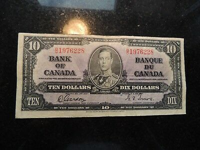 1937 BANK OF CANADA $ 10 TEN DOLLARS GORDON TOWERS B/D 1976228 BC-24b BIRTHDAY