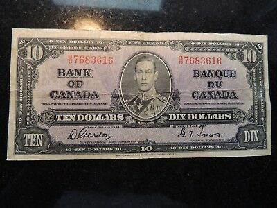 1937 BANK OF CANADA $ 10 TEN DOLLARS GORDON TOWERS B/D 7683616 BC-24b