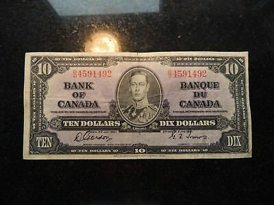 1937 BANK OF CANADA $ 10 TEN DOLLARS GORDON TOWERS B/D 4591492 BC-24b