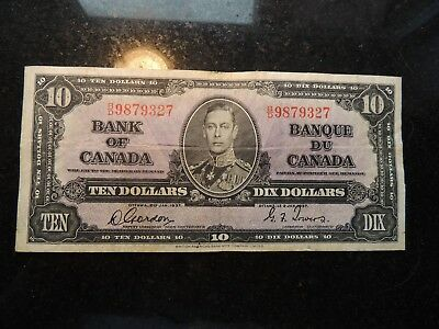 1937 BANK OF CANADA $ 10 TEN DOLLARS GORDON TOWERS B/D 9879327 BC-24b