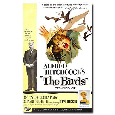 The Birds 24x36inch 1963 Old Horror Movie Vintage Style Silk Poster Art Print