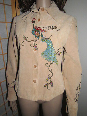 Rare/Beige 100%Leather/Peacock Print w,Sequin/Button Up/Long Sleeve/Slim Jacket