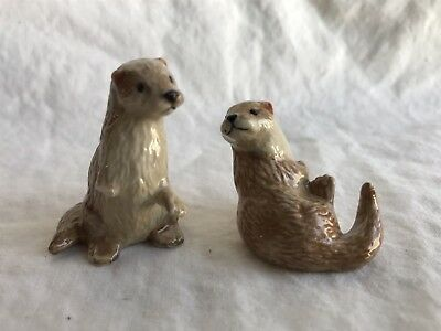 Northern Rose Miniature Collectible Porcelain Ceramic Otters Figurine Animal