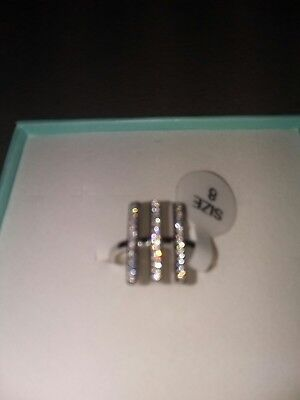Women's 925 sterling silver CZ triple bar ring size 8 new in box