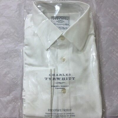 "Mens White Shirt CHARLES TYRWHITT 16.5"" 42cm NON IRON Slim Fit Double Cuff Shirt"