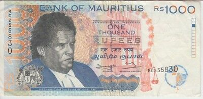 Mauritius Banknote P47-5830 1,000 1.000 1000 Rupees withdrawn Note, VF