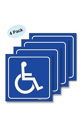 4 Pack Handicap Stickers - Disabled Wheelchair Vinyl Decal Sticker Stickers, For