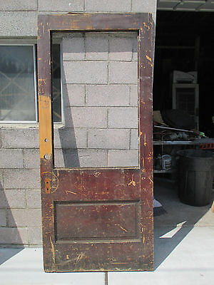 ~ RARE ANTIQUE SYCAMORE DOOR GLASS OPENING ~ 39 x 89 ~ ARCHITECTURAL SALVAGE ~
