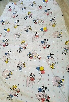 Vintage Dundee Crib Sheet Fitted Mickey Disney Minnie Pluto Letters 1984