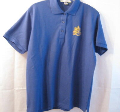 New Four Queens Casino Port Authority Ladies Large Blue Short Sleeve Shirt