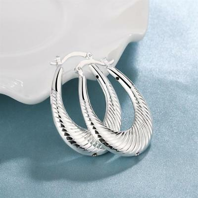 Womens Sterling Silver Elegant Medium 39mm Oval Hoop Fashion Earrings #EA185