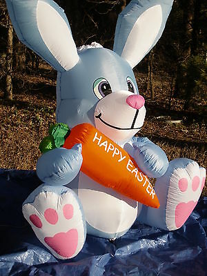 RARE NEW Gemmy 6' Giant Lighted Easter Bunny Rabbit w/Carrot Airblown Inflatable