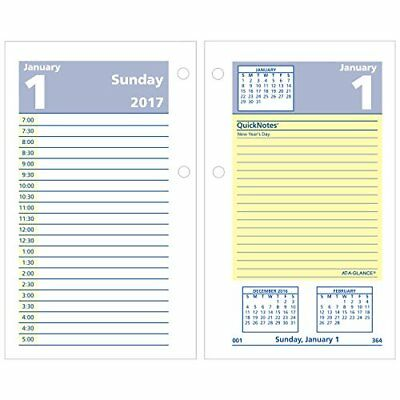 """AT-A-GLANCE Daily Desk Calendar 2017 Refill, Quick Notes, 12 Months, 3-1/2 x 6"""""""
