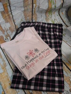 What Happens at...Scrapbooking PJ Pajama Set Women's size M- Graphic Tee & Pants