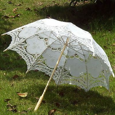 Sun Wedding Embroidery Parasol Cotton Lace Umbrella Party Bridal Accessory US