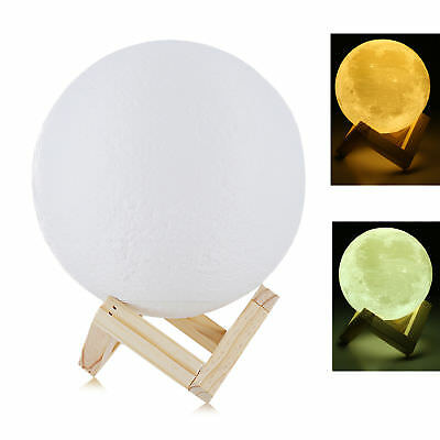 LED 3D Printing Lunar Moon Night Light Lamp Touch Bedroom Bulb Dimmable USA 15cm