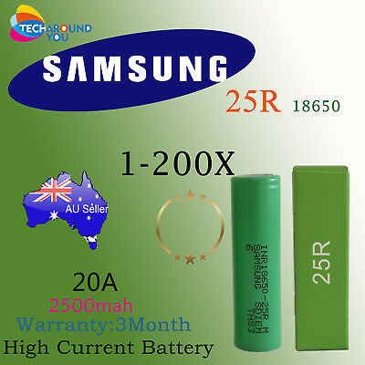 1-200 Samsung18650 2500mAh INR18650 25R Lithium High Drain Rechargeable Battery