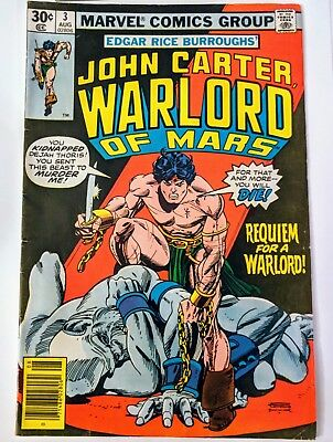 John Carter Warlord of Mars #3 Requiem For a Warlord 1977 Marvel Comics Group