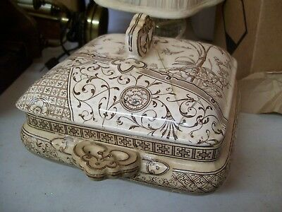 ANTIQUE Gildea Walker G  W Melbourne 1886 Transferware Tureen Cover Ivory Brown