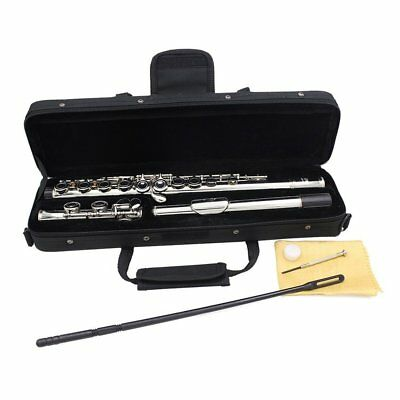 Silver Plated 16 Closed Holes Flute C Key Western Concert Musical Instrument W8