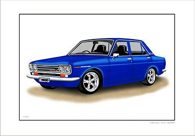 Datsun  1600  510  Sedan Limited Edition Car Drawing  Print  ( 7 Car Colours)