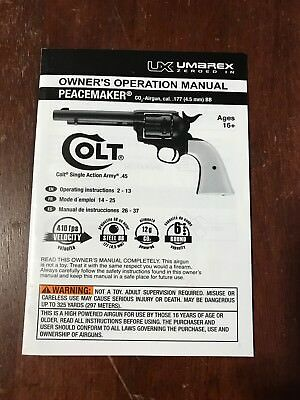 COLT UMAREX PEACEMAKER CO2 Pistol Factory Owners Manual