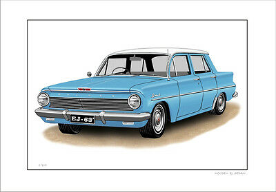 Holden  Ej  Special Sedan  Limited Edition Car Drawing  Print  ( 7 Car Colours)