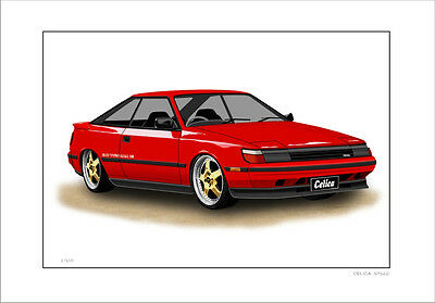 Toyota  Celica   St162   Lmited Edition  Car Drawing  Print  ( 6 Car Colours )