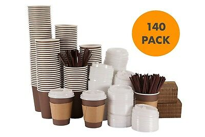 Disposable Hot Paper Coffee Cups with Lids, Sleeves, Straws Set of 140 - 12 Oz