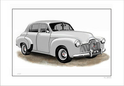 Holden Fx Sedan  418 Limited Edition Car Drawing Print   ( 6 Car Colours)