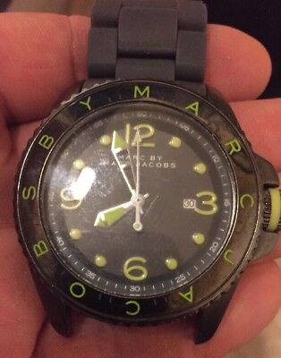 52e1a56ead0a Marc Jacobs Mens Watch DIVER Lime & Grey Silicone Bracelet *WATCH BAND  BROKEN*
