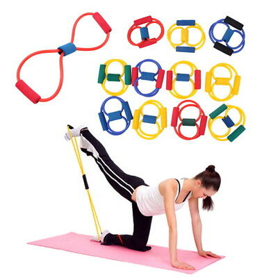 Resistance Band Yoga Pilates Abs Exercise Stretch Fitness Tube Workout Bands W8