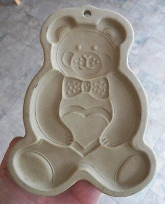 Vintage THE PAMPERED CHEF Teddy Bear Stone Stoneware COOKIE MOLD 1991