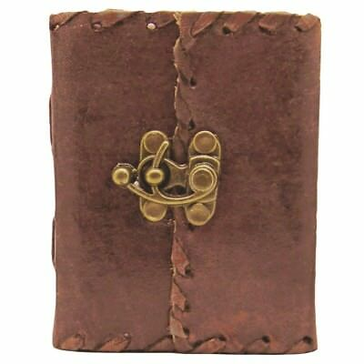 Plain Leather Journal With Lock - Personal Leather Writing Diary Notepad Sketch