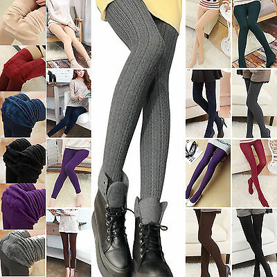 AU Women's Winter Warm Slim Leggings Stretch Cotton Pants Fleece Lined Stockings