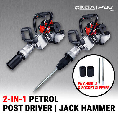 2in1 Petrol 33cc Pile Post Driver+Jackhammer Star Picket Jack Hammer Demolition