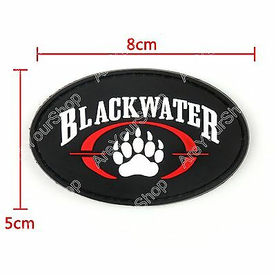 Black Water Logo 3D Rubber Hook Loop Patch Tactical Army Morale Arming Badge