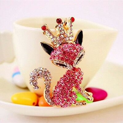 Key-chain Rhinestone Cartoon Animal Fox  Key Rings Luxury Crown Fox Key Chain