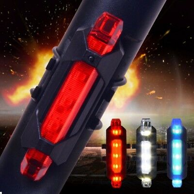 NEW Cycling 5 LED USB Rechargeable Bike Bicycle Tail Warning Light Rear Safety