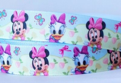 1M X 22mm Grosgrain Ribbon Craft DIY Cake Decorations Bows - Baby Minnie & Daisy