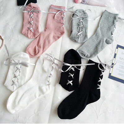 Fashion Women Ribbon Bow knot Cross Straps Gothic Socks Satin Cotton Pile Socks